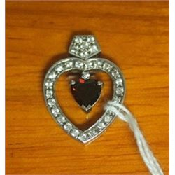 Beautiful Sterling Silver Heart Pendant with Sapphire and Garnet