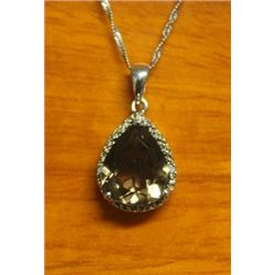 Beautiful Pendant with Smoky Quartz and Diamond