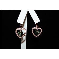Fine 14kt Rose Gold over Silver Heart & Gemstones Earrings (9E)