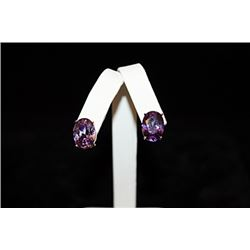 Gorgeous 14kt Rose Gold over Silver Purple Gemstone Stud Earrings (25E)
