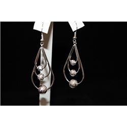 Lady's Fancy Pear Shape & Balls Silver Earrings (31E)