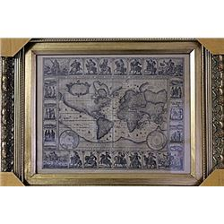 Framed Geographica Map Engraving (28E-EK)