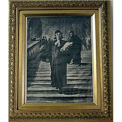Framed Honoré Daumier-The Grand Staircase of the Palace of Justice Engraving (45E-EK)