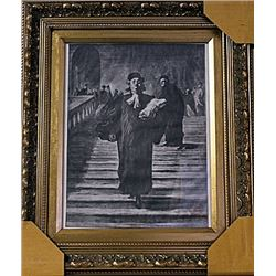 Framed Honoré Daumier-The Grand Staircase of the Palace of Justice Engraving (46E-EK)