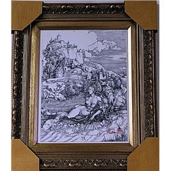 Framed Albrecht Dürer-The Sea Monster Engraving (50E-EK)