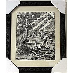 Framed Apollo killing the boxer Phorbas Engraving  (76E-EK)