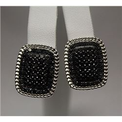 Gorgeous Black Diamonds Silver Earrings (77E)