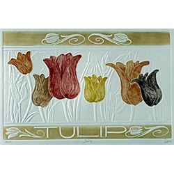"Embossed Lithograph ""Tulip""  Hari Hockey"