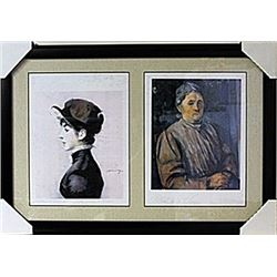 Framed 2-in-1 Edouard Manet and Paul Cézanne Lithographs (139E-EK)