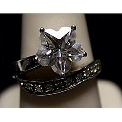 Fancy Star Shaped White Sapphire SS Ring. (735L)