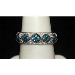 Gorgeous Silver Ring with Blue Topaz & Diamonds (145I)