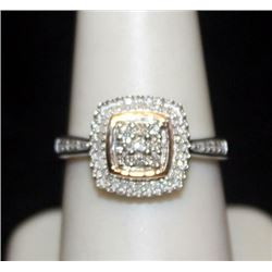 Gorgeous 14kt over Silver Ring with Cluster Diamonds (153I)