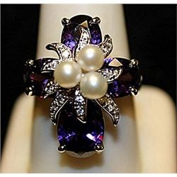 Gorgeous Amethyst, Pearls & White Topaz SS Ring. (757L)