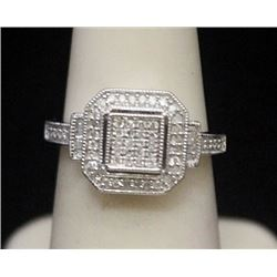 Lady's Fancy Silver Ring with Diamonds (160I)