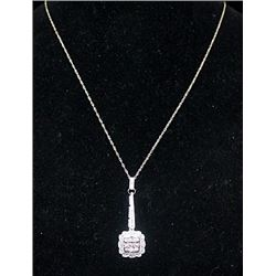 Gorgeous Silver Necklace with Diamonds (164I)