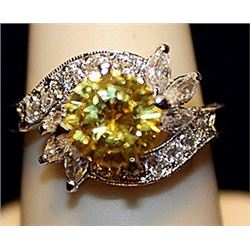 Fancy Golden Citrine & Sapphires SS Ring. (522L)