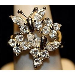 Gorgeous Butterfly & Flowers White Sapphires SS Ring. (774L)