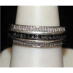Fancy Silver Ring with Black & White Diamonds (181I)