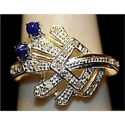 Fancy Sapphire with Diamonds Sterling Silver Ring. (242L)