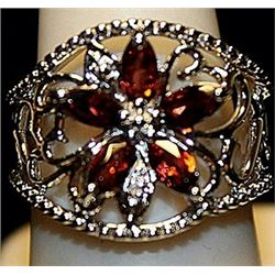 Gorgeous Red Orange Sapphires SS Ring. (193L)
