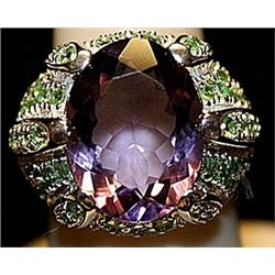 Fancy Purple Sapphire with Peridots SS Ring. (174L)