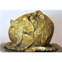 The Birth of a New Being - Gold over Bronze Sculpture - after DALI