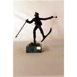 Christmas Skis - Bronze Sculpture - after Dennis Smith