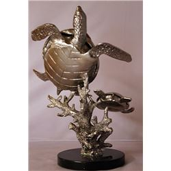Sea Turtles - Silver Sculpture with Marble Base