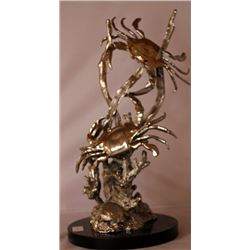 King Crabs - Silver Sculpture with Marble Base