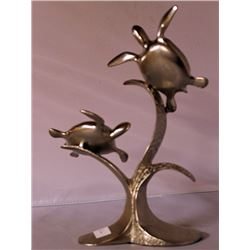 Sea Turtles II - Silver Sculpture