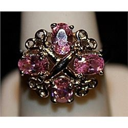 Fancy Pink Lab Sapphires & Black Diamonds SS Ring. (574L)