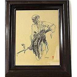 Framed HEINRICH KLEY Drawing (75E-EK)