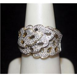 Fancy Silver Antique Style Ring with Cluster Diamonds (135I)