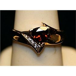 Gorgeous Rose Garnet Gold over Silver Ring. (737L)
