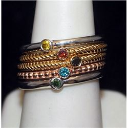 Beautiful 14kt over Silver Mix 5 Rings with Mix Stones (138I)