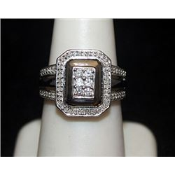 Lady's Beautiful Silver Ring with Black & White Diamonds (141I)