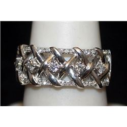 Fancy Unisex Silver Ring with Diamonds (150I)