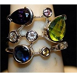 Fancy Amethyst, Peridot & White Topaz SS Ring. (756L)