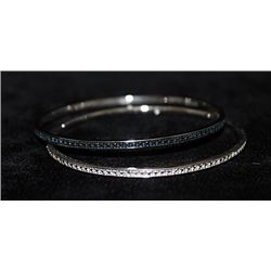 Gorgeous Silver Double Bangles with Lab Alexandrites & Diamonds (162I)