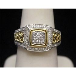 Fancy 14kt over Silver Ring with Diamonds (167I)