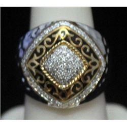 Fancy Unisex 14kt over Silver Ring with Diamonds (180I)