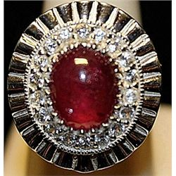 Gorgeous Ruby with White Sapphires SS Ring. (254L)