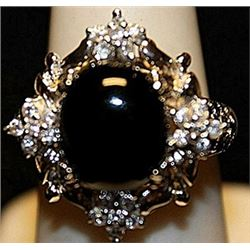 Beautiful Black Onyx & White Sapphires SS Ring. (237L)