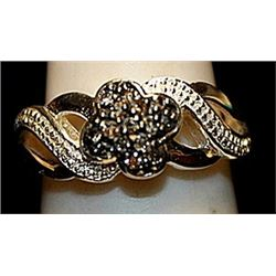 Beautiful Balck & White Diamonds SS Ring. (172L)