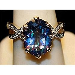 Fancy Lab Alexandrite Sterling & White Topaz SS Ring. (220L)