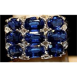 Fancy Lab Sapphires Sterling Silver Ring. (207L)
