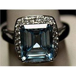 Gorgeous Lab Aquamarine Sterling Silver Ring. (213L)