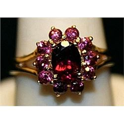 Gorgeous Rubies Gold over Silver Ring. (157L)
