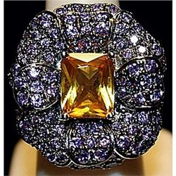 Gorgeous Golden Citrine & Tanzanites Sterling Silver Ring. (175L)