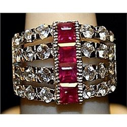 Gorgeous Rubies with White Topaz SS Ring. (161L)